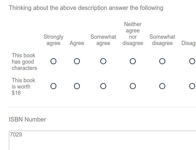 Participants view of the survey with ISBN question showing.