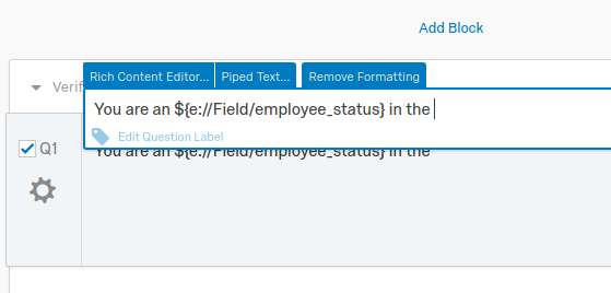 Shows Qualtrics question text editor with example text being entered.