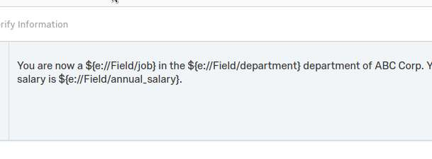 Shows question text with piped variables for each job, department, and annual_salary.
