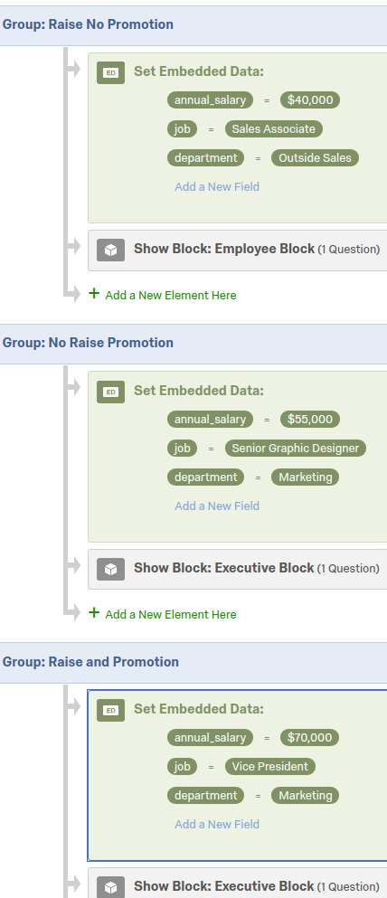 Shows each group block of the Randomizer populated with variables and either executive or employee blocks.
